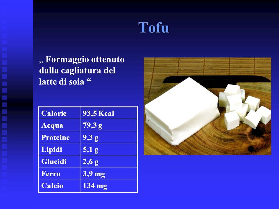 Tofu Formaggio ottenuto dalla cagliatura del latte di soia Calorie93,5 Kcal Acqua79,3 g Proteine9,3 g Lipidi5,1 g Glucidi2,6 g Ferro3,9 mg Calcio134 m