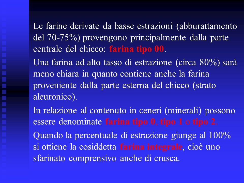 Le farine derivate da basse estrazioni (abburattamento del 70-75%) provengono principalmente dalla parte centrale del chicco: farina tipo 00. Una fari