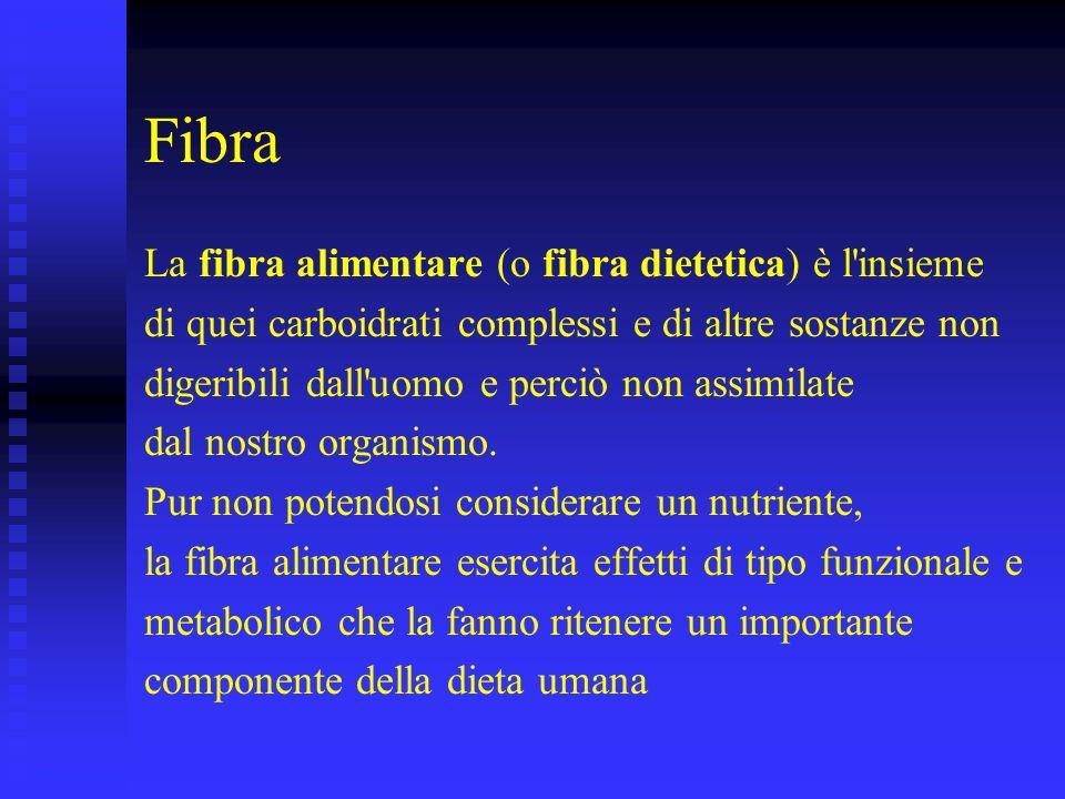 Fibra La fibra alimentare (o fibra dietetica) è l'insieme di quei carboidrati complessi e di altre sostanze non digeribili dall'uomo e perciò non assi