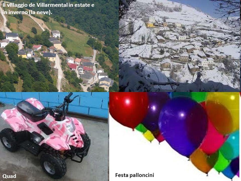 Quad Festa palloncini Il villaggio de Villarmental in estate e in inverno (la neve).