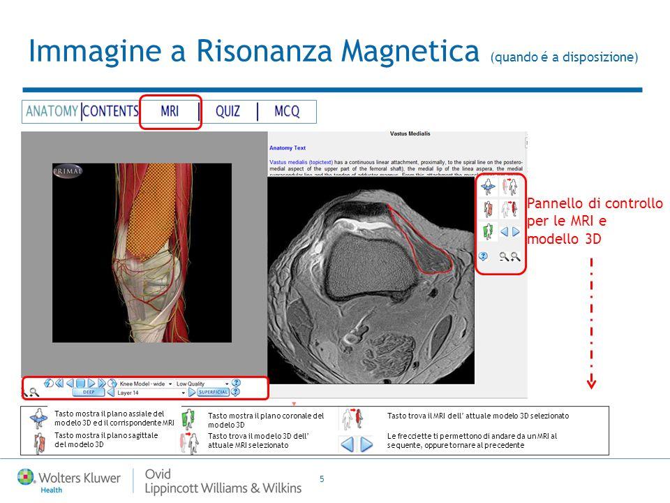 5 Immagine a Risonanza Magnetica (quando é a disposizione) Pannello di controllo per le MRI e modello 3D Tasto mostra il plano assiale del modelo 3D ed il corrispondente MRI Tasto mostra il plano sagittale del modelo 3D Tasto trova il modelo 3D dell attuale MRI selezionato Tasto mostra il plano coronale del modelo 3D Le frecciette ti permettono di andare da un MRI al sequente, oppure tornare al precedente Tasto trova il MRI dell attuale modelo 3D selezionato