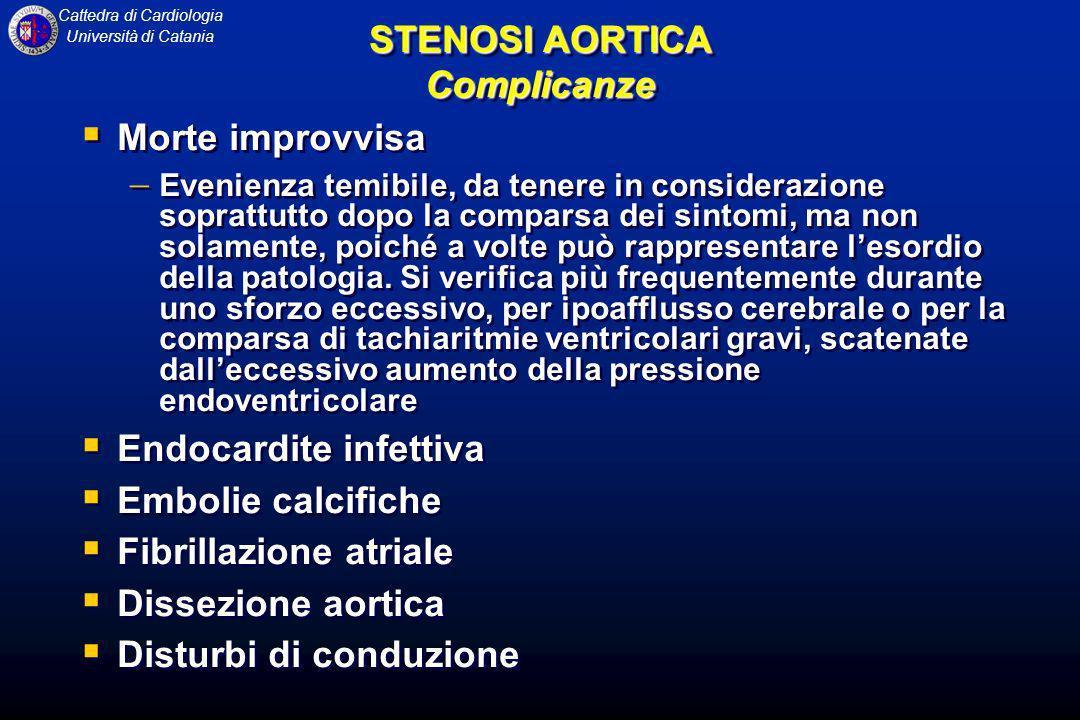 Cattedra di Cardiologia Università di Catania STENOSI AORTICA Complicanze Morte improvvisa Evenienza temibile, da tenere in considerazione soprattutto