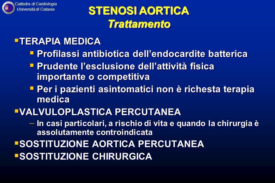 Cattedra di Cardiologia Università di Catania STENOSI AORTICA Trattamento TERAPIA MEDICA Profilassi antibiotica dellendocardite batterica Prudente les