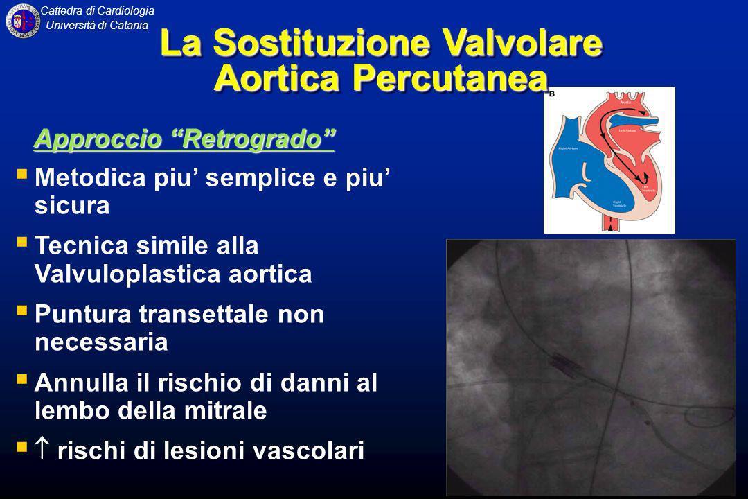 Cattedra di Cardiologia Università di Catania Approccio Retrogrado Metodica piu semplice e piu sicura Tecnica simile alla Valvuloplastica aortica Punt