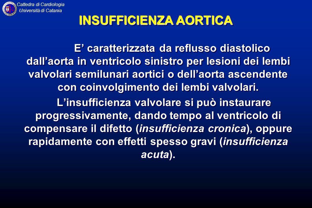 Cattedra di Cardiologia Università di Catania INSUFFICIENZA AORTICA E caratterizzata da reflusso diastolico dallaorta in ventricolo sinistro per lesio