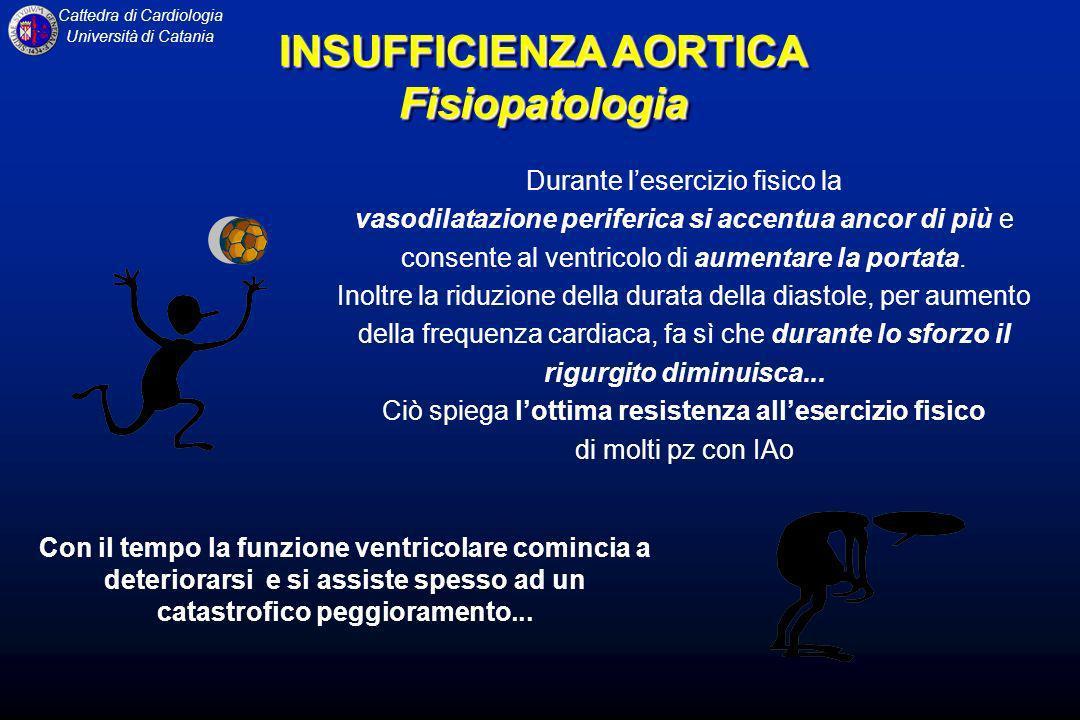 Cattedra di Cardiologia Università di Catania Durante lesercizio fisico la vasodilatazione periferica si accentua ancor di più e consente al ventricol
