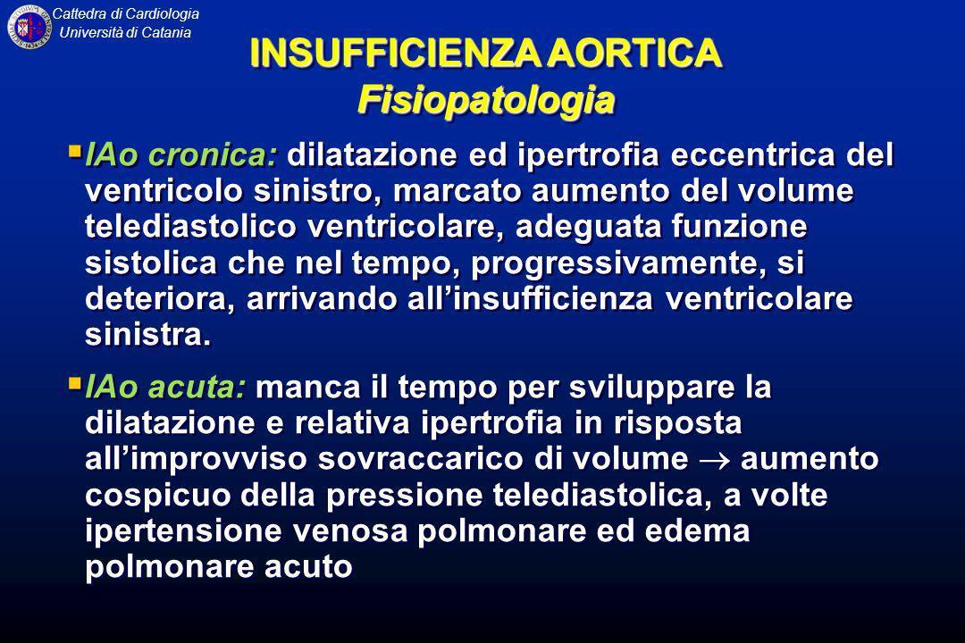 Cattedra di Cardiologia Università di Catania IAo cronica: dilatazione ed ipertrofia eccentrica del ventricolo sinistro, marcato aumento del volume te
