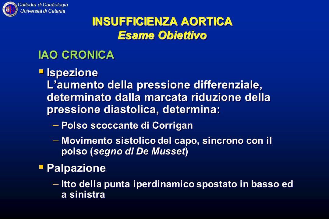 Cattedra di Cardiologia Università di Catania IAO CRONICA Ispezione Laumento della pressione differenziale, determinato dalla marcata riduzione della
