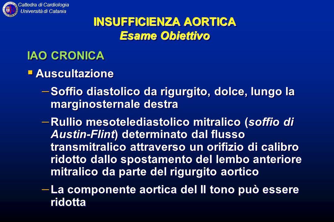 Cattedra di Cardiologia Università di Catania IAO CRONICA Auscultazione Soffio diastolico da rigurgito, dolce, lungo la marginosternale destra Rullio