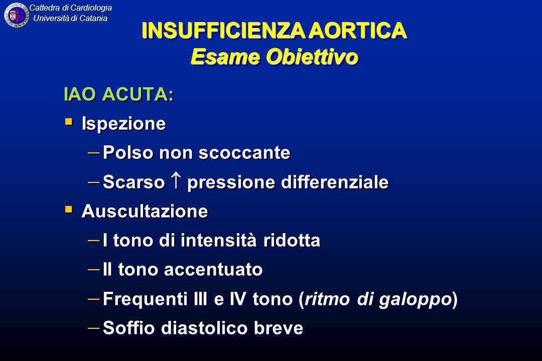 Cattedra di Cardiologia Università di Catania IAO ACUTA: Ispezione Polso non scoccante Scarso pressione differenziale Auscultazione I tono di intensit