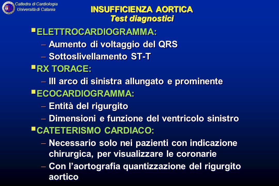 Cattedra di Cardiologia Università di Catania INSUFFICIENZA AORTICA Test diagnostici ELETTROCARDIOGRAMMA: Aumento di voltaggio del QRS Sottoslivellame