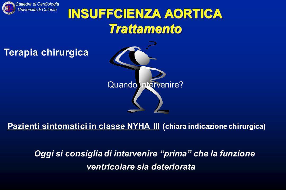 Cattedra di Cardiologia Università di Catania Terapia chirurgica Pazienti sintomatici in classe NYHA III ( chiara indicazione chirurgica) Oggi si cons