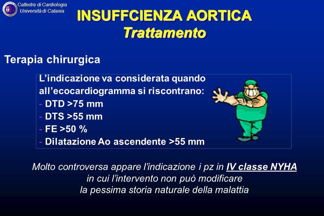 Cattedra di Cardiologia Università di Catania Lindicazione va considerata quando allecocardiogramma si riscontrano: - DTD >75 mm - DTS >55 mm - FE >50
