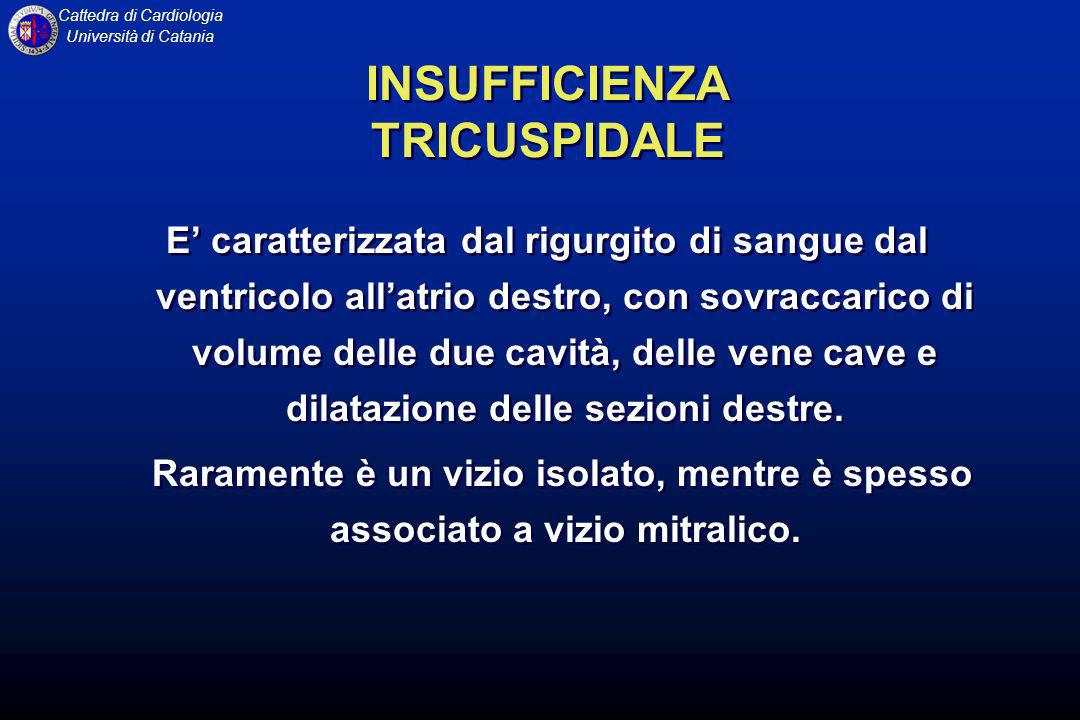 Cattedra di Cardiologia Università di Catania INSUFFICIENZA TRICUSPIDALE E caratterizzata dal rigurgito di sangue dal ventricolo allatrio destro, con