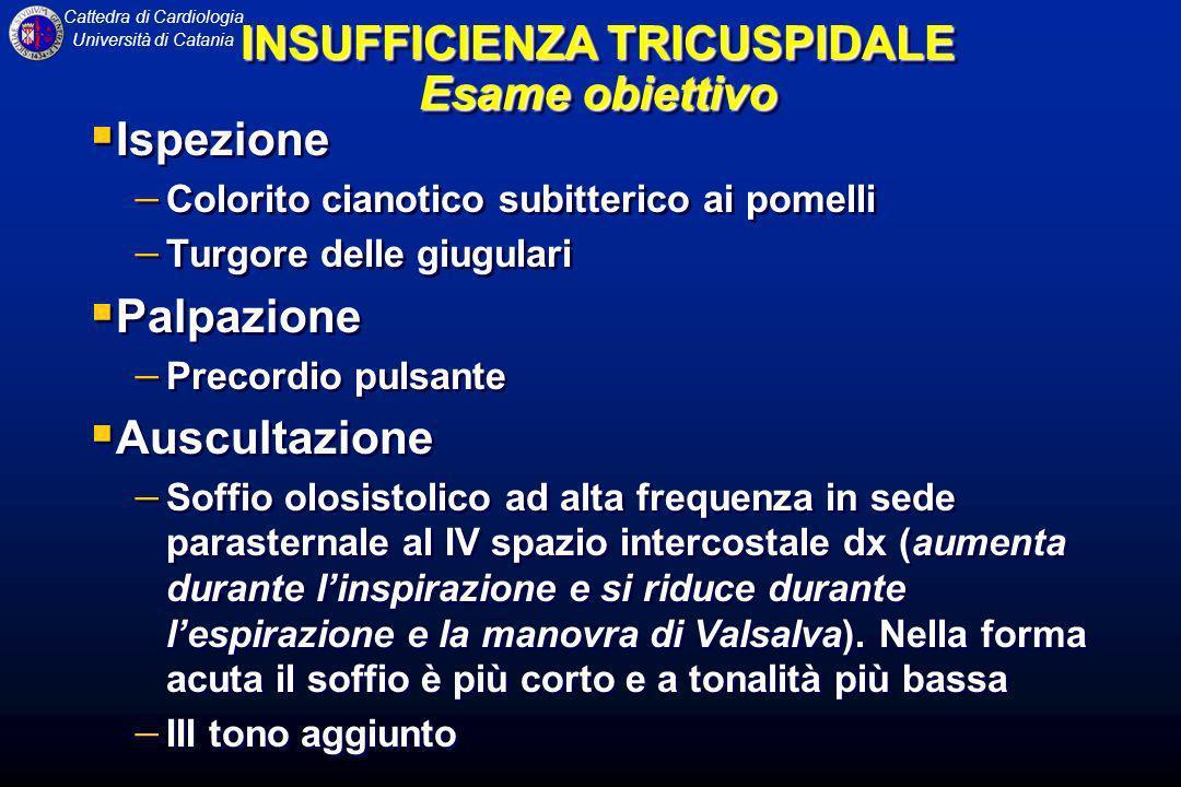Cattedra di Cardiologia Università di Catania Ispezione Colorito cianotico subitterico ai pomelli Turgore delle giugulari Palpazione Precordio pulsant