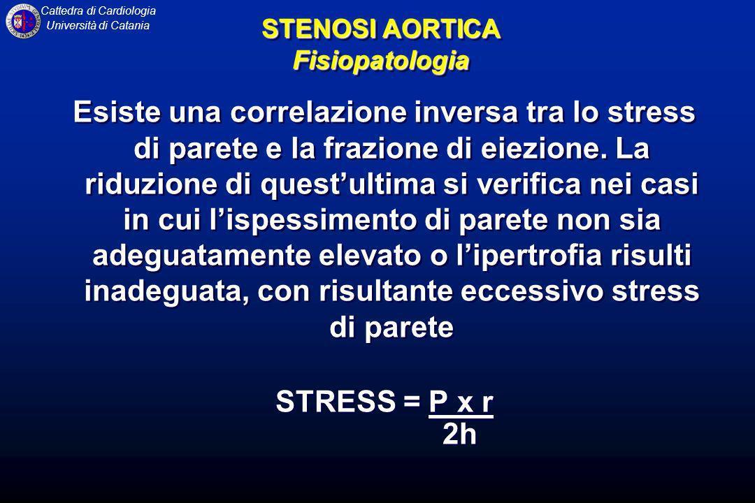 Cattedra di Cardiologia Università di Catania Esiste una correlazione inversa tra lo stress di parete e la frazione di eiezione. La riduzione di quest