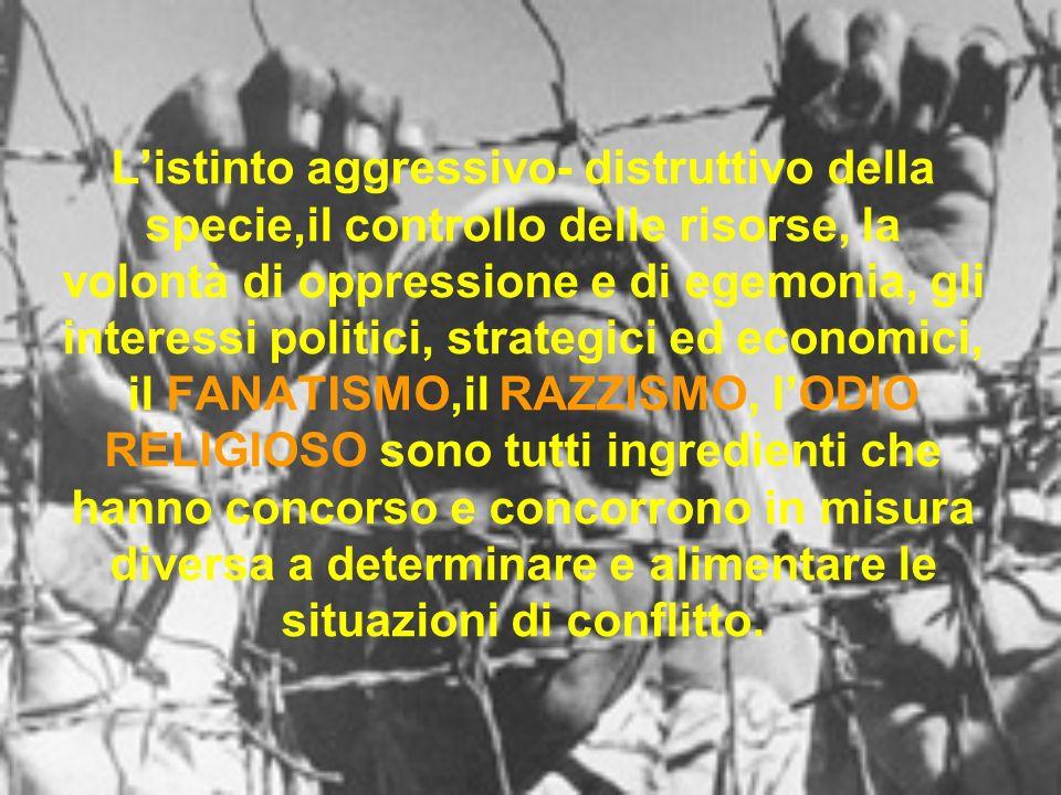 Listinto aggressivo- distruttivo della specie,il controllo delle risorse, la volontà di oppressione e di egemonia, gli interessi politici, strategici