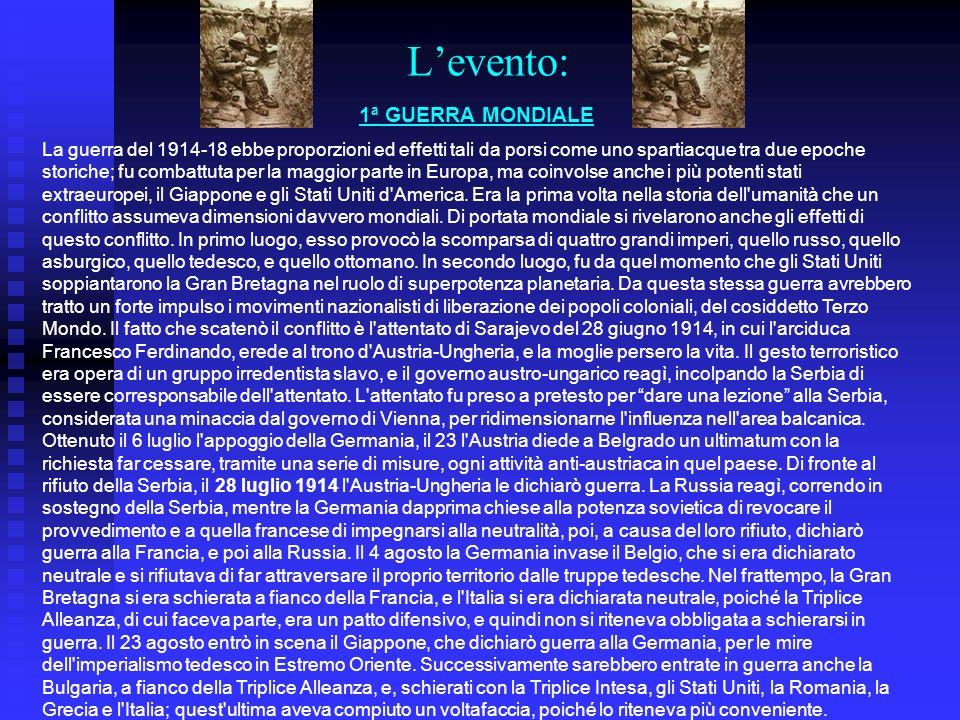 storia Levento Cause belliche LItalia Trattati di pace Cause Culturali LA Grande Guerra 19181915