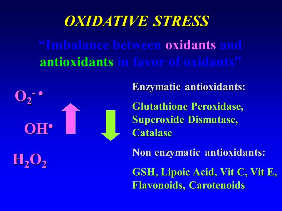 OXIDATIVE STRESS Imbalance between oxidants and antioxidants in favor of oxidants O 2 - O 2 - OH OH H2O2H2O2H2O2H2O2 Enzymatic antioxidants: Glutathio