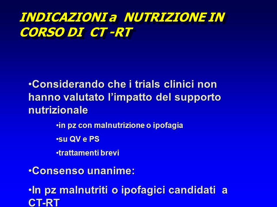 INDICAZIONI a NUTRIZIONE IN CORSO DI CT -RT Considerando che i trials clinici non hanno valutato limpatto del supporto nutrizionaleConsiderando che i