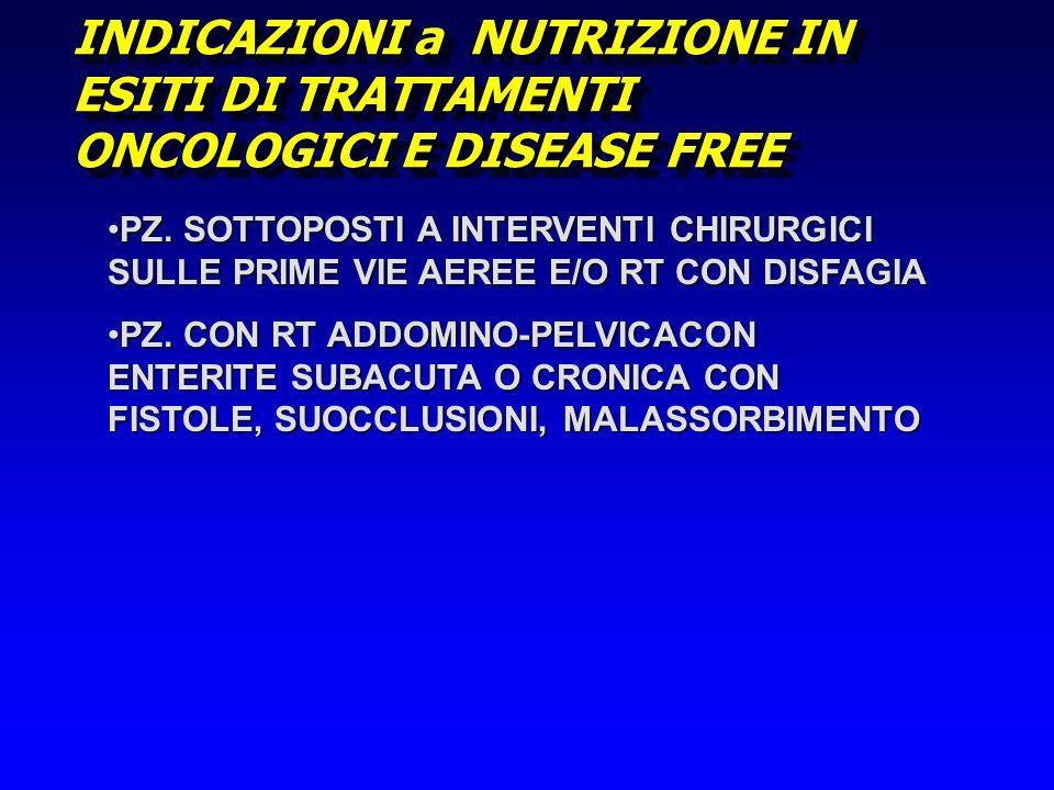 INDICAZIONI a NUTRIZIONE IN ESITI DI TRATTAMENTI ONCOLOGICI E DISEASE FREE PZ. SOTTOPOSTI A INTERVENTI CHIRURGICI SULLE PRIME VIE AEREE E/O RT CON DIS