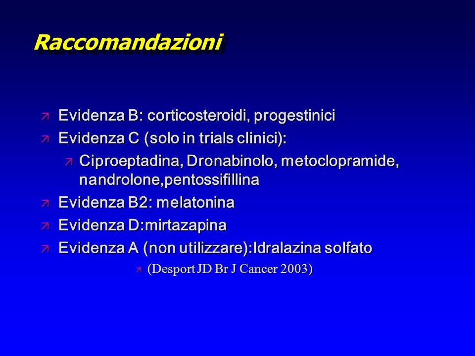 RaccomandazioniRaccomandazioni ä Evidenza B: corticosteroidi, progestinici ä Evidenza C (solo in trials clinici): ä Ciproeptadina, Dronabinolo, metocl