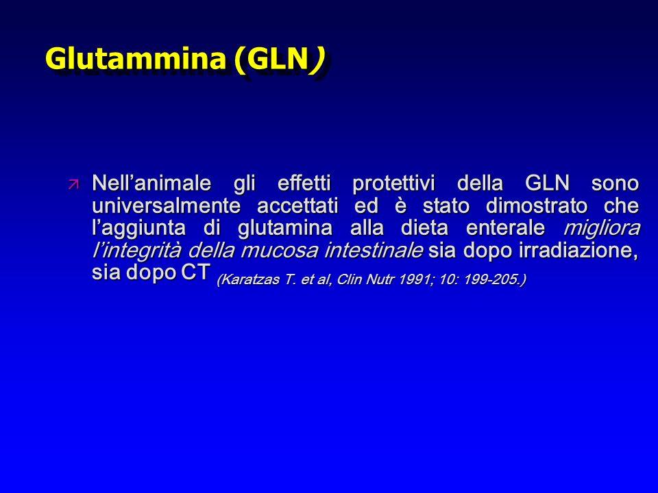 Glutammina (GLN) ä Nellanimale gli effetti protettivi della GLN sono universalmente accettati ed è stato dimostrato che laggiunta di glutamina alla di