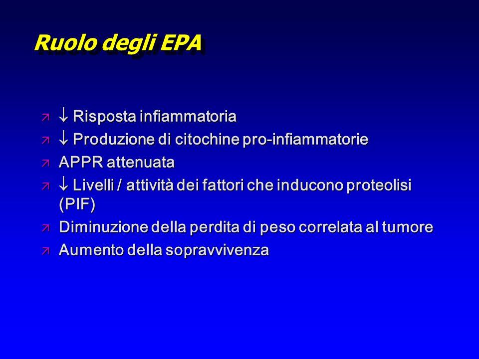 Ruolo degli EPA ä Risposta infiammatoria ä Produzione di citochine pro-infiammatorie ä APPR attenuata ä Livelli / attività dei fattori che inducono pr