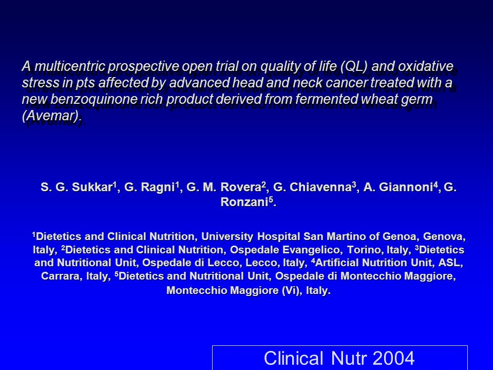 A multicentric prospective open trial on quality of life (QL) and oxidative stress in pts affected by advanced head and neck cancer treated with a new