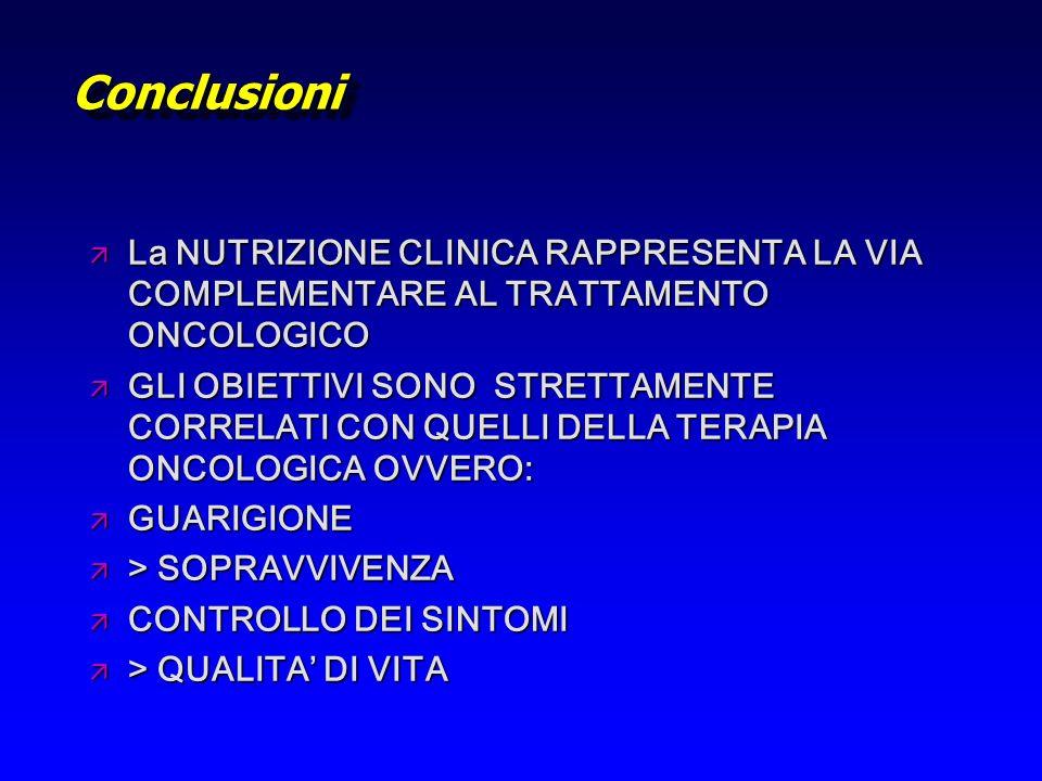 ConclusioniConclusioni ä La NUTRIZIONE CLINICA RAPPRESENTA LA VIA COMPLEMENTARE AL TRATTAMENTO ONCOLOGICO ä GLI OBIETTIVI SONO STRETTAMENTE CORRELATI