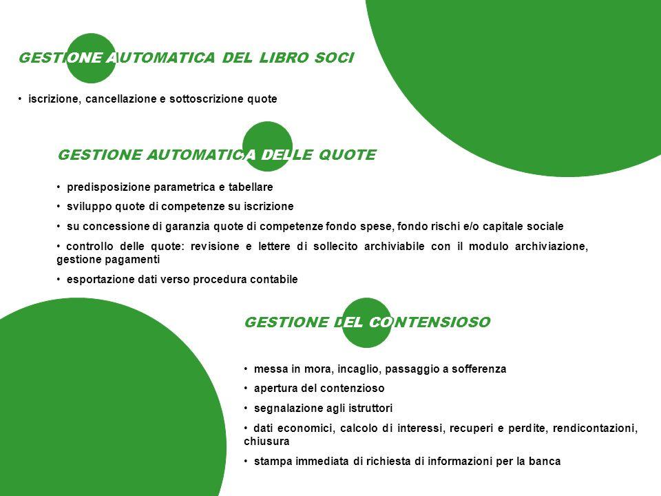 GESTIONE AUTOMATICA DEL LIBRO SOCI ONE A iscrizione, cancellazione e sottoscrizione quote GESTIONE AUTOMATICA DELLE QUOTE A DEL predisposizione parame
