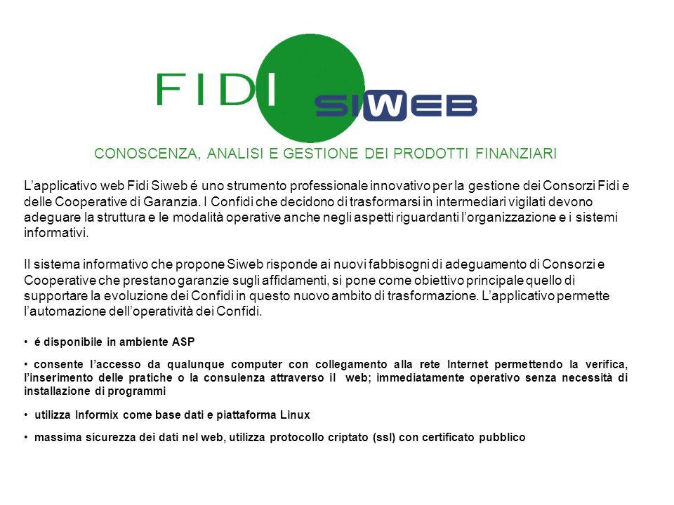 CONOSCENZA, ANALISI E GESTIONE DEI PRODOTTI FINANZIARI Lapplicativo web Fidi Siweb é uno strumento professionale innovativo per la gestione dei Consor