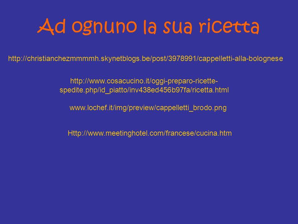 Ad ognuno la sua ricetta http://christianchezmmmmh.skynetblogs.be/post/3978991/cappelletti-alla-bolognese http://www.cosacucino.it/oggi-preparo-ricett