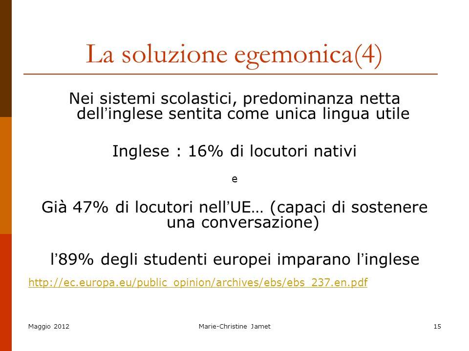 Maggio 2012Marie-Christine Jamet15 La soluzione egemonica(4) Nei sistemi scolastici, predominanza netta dell inglese sentita come unica lingua utile I