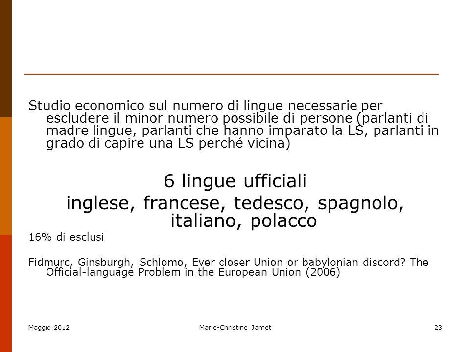 Maggio 2012Marie-Christine Jamet23 Studio economico sul numero di lingue necessarie per escludere il minor numero possibile di persone (parlanti di ma