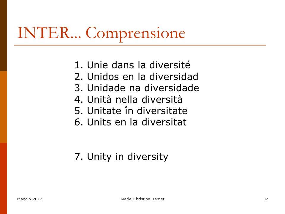 Maggio 2012Marie-Christine Jamet32 INTER... Comprensione 1. Unie dans la diversité 2. Unidos en la diversidad 3. Unidade na diversidade 4. Unità nella