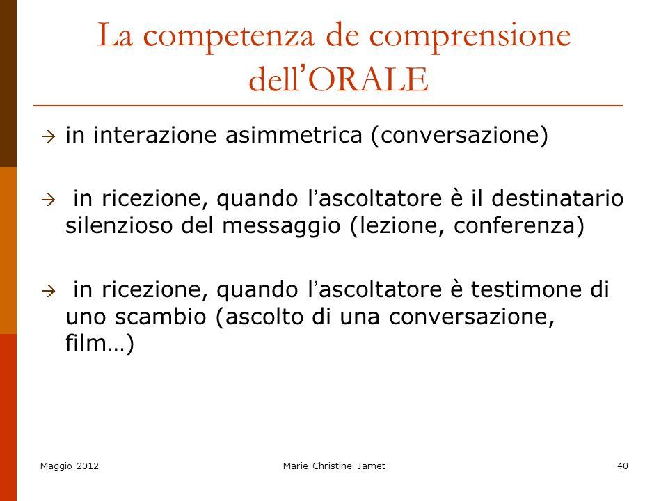 Maggio 2012Marie-Christine Jamet40 La competenza de comprensione dell ORALE in interazione asimmetrica (conversazione) in ricezione, quando l ascoltat