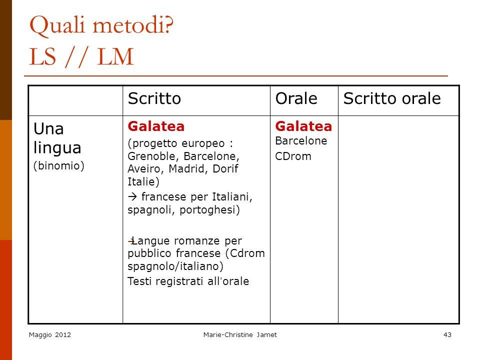 Maggio 2012Marie-Christine Jamet43 Quali metodi? LS // LM ScrittoOraleScritto orale Una lingua (binomio) Galatea (progetto europeo : Grenoble, Barcelo