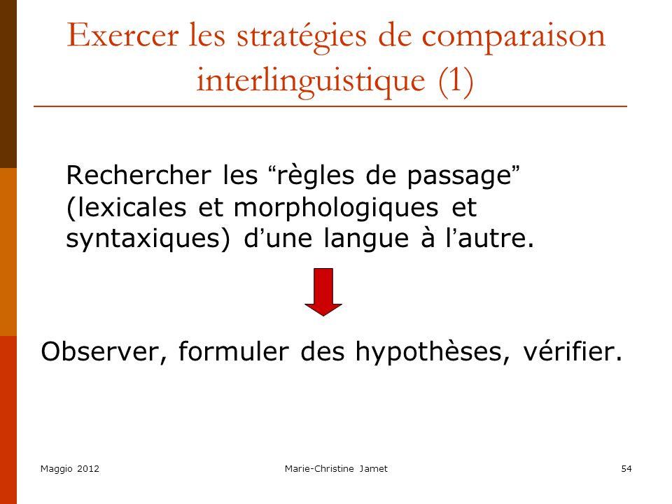 Maggio 2012Marie-Christine Jamet54 Exercer les stratégies de comparaison interlinguistique (1) Rechercher les règles de passage (lexicales et morpholo