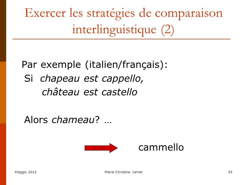Maggio 2012Marie-Christine Jamet55 Exercer les stratégies de comparaison interlinguistique (2) Par exemple (italien/français): Si chapeau est cappello