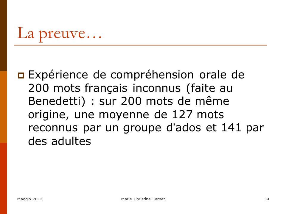 Maggio 2012Marie-Christine Jamet59 La preuve… Expérience de compréhension orale de 200 mots français inconnus (faite au Benedetti) : sur 200 mots de m