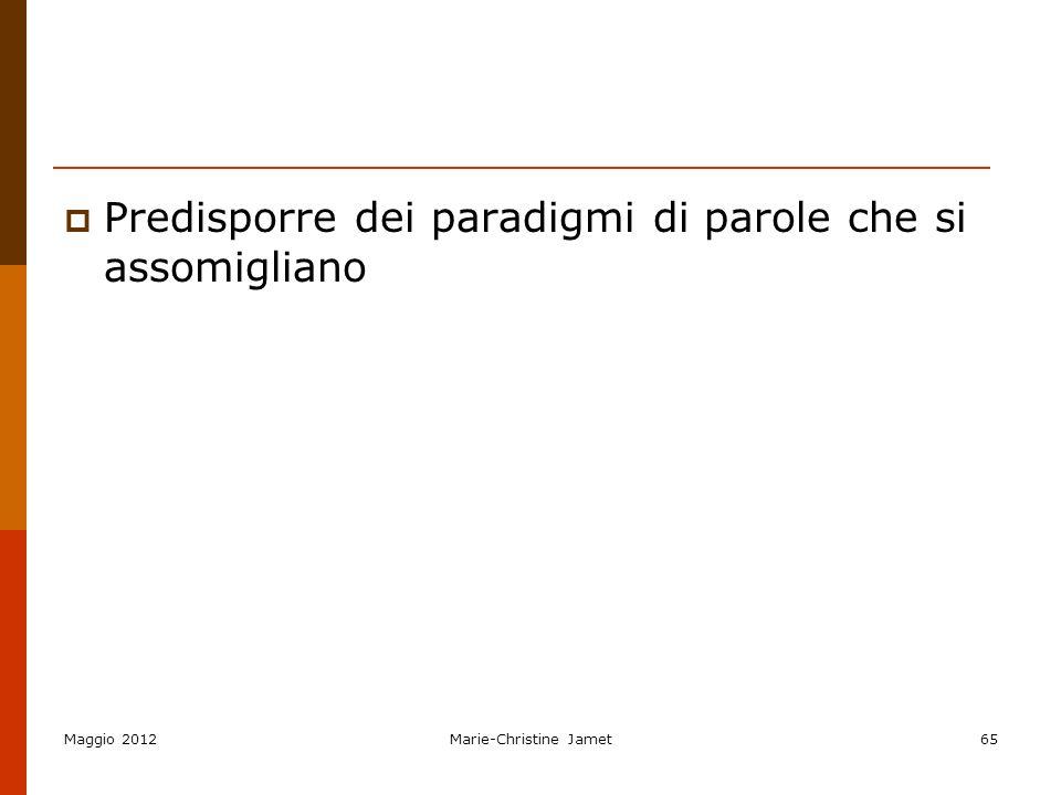 Predisporre dei paradigmi di parole che si assomigliano Maggio 2012Marie-Christine Jamet65