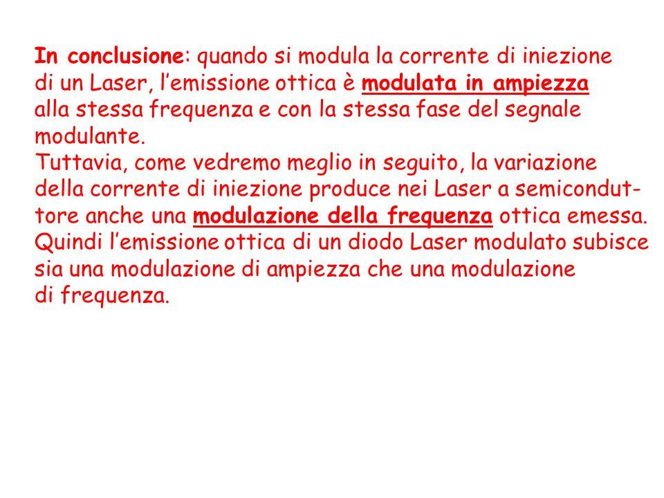 In conclusione: quando si modula la corrente di iniezione di un Laser, lemissione ottica è modulata in ampiezza alla stessa frequenza e con la stessa