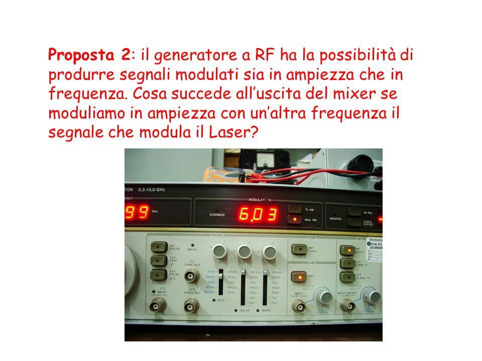 Proposta 2: il generatore a RF ha la possibilità di produrre segnali modulati sia in ampiezza che in frequenza. Cosa succede alluscita del mixer se mo