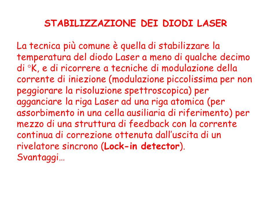 STABILIZZAZIONE DEI DIODI LASER La tecnica più comune è quella di stabilizzare la temperatura del diodo Laser a meno di qualche decimo di °K, e di ric