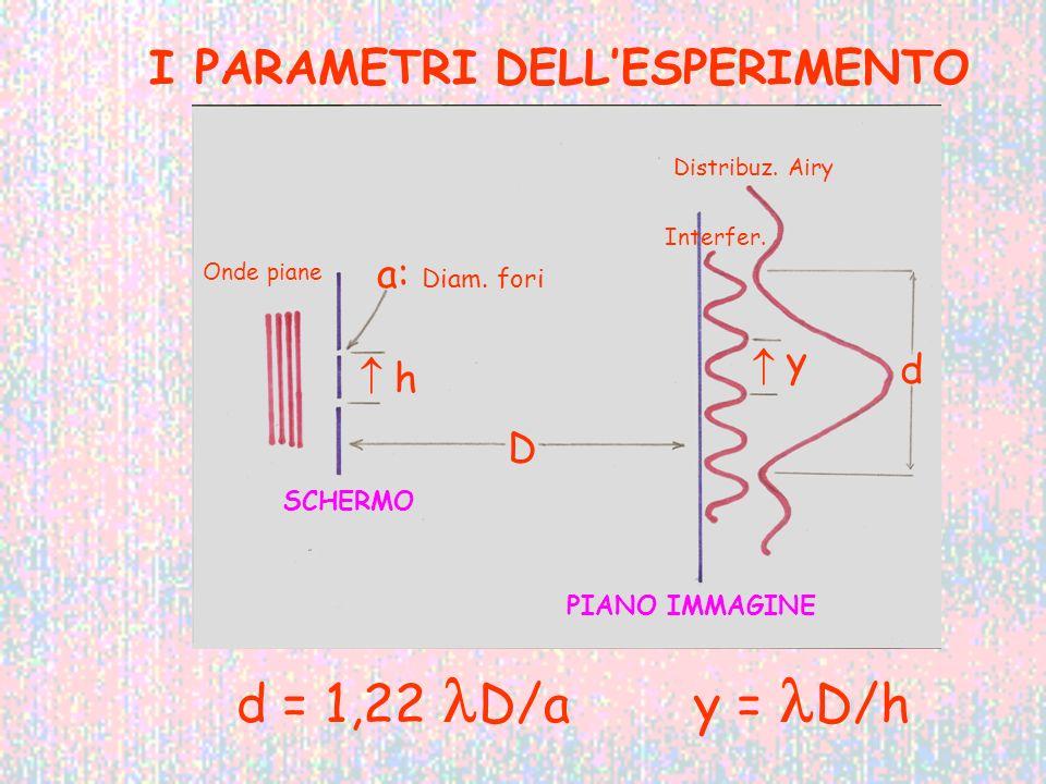 I PARAMETRI DELLESPERIMENTO d = 1,22 D/a y = D/h D a: Diam. fori h d y Onde piane Distribuz. Airy Interfer. SCHERMO PIANO IMMAGINE