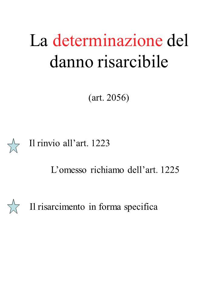 La determinazione del danno risarcibile (art. 2056) Il rinvio allart. 1223 Lomesso richiamo dellart. 1225 Il risarcimento in forma specifica