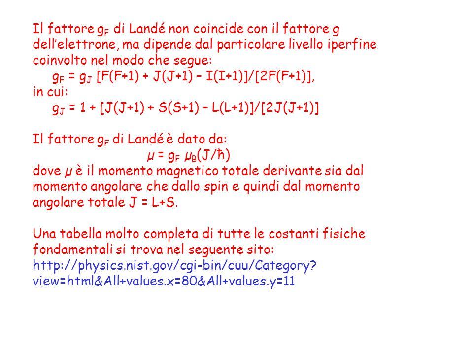 Il fattore g F di Landé non coincide con il fattore g dellelettrone, ma dipende dal particolare livello iperfine coinvolto nel modo che segue: g F = g