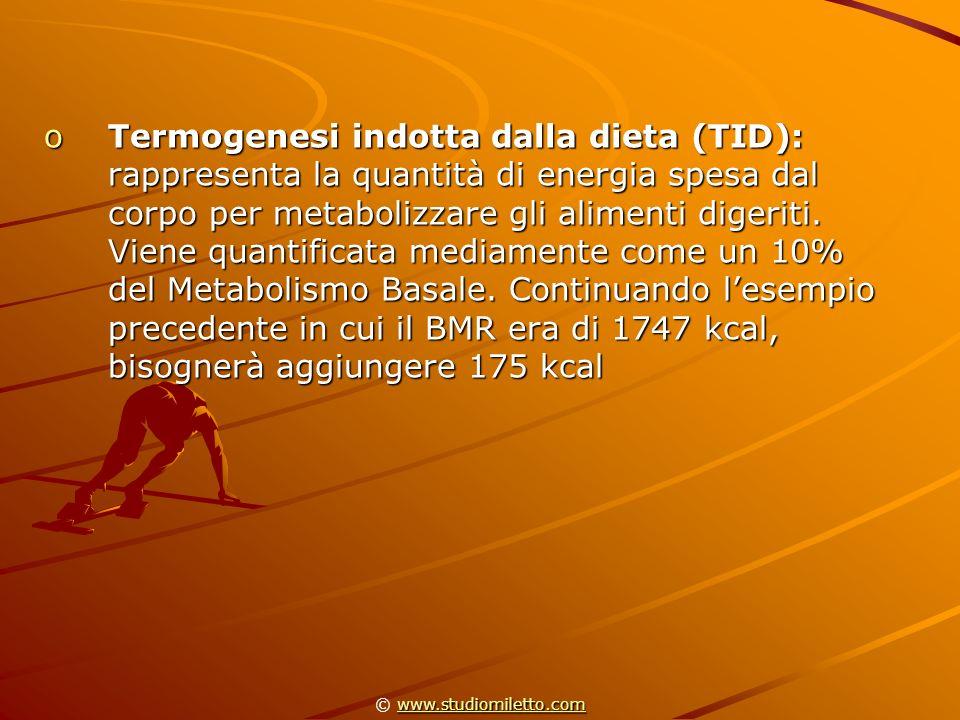 oTermogenesi indotta dalla dieta (TID): rappresenta la quantità di energia spesa dal corpo per metabolizzare gli alimenti digeriti. Viene quantificata
