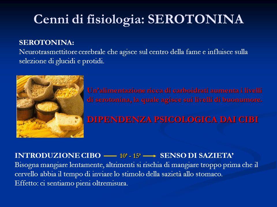 Cenni di fisiologia: SEROTONINA SEROTONINA: Neurotrasmettitore cerebrale che agisce sul centro della fame e influisce sulla selezione di glucidi e protidi.
